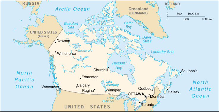 CIA World Map Of Canada - Canada map in world map