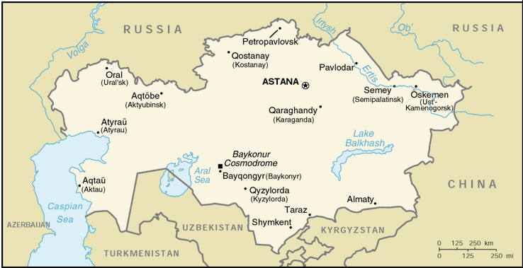 CIA World Map of Kazakhstan