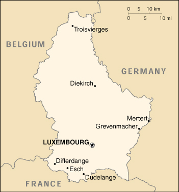 Cia World Map Of Luxembourg