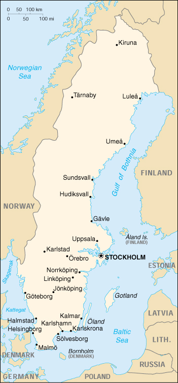 CIA World Map of Sweden